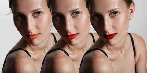 portrait of one woman, wearing different lipstick