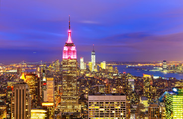View of New York City at twilight.