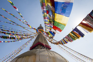 Boudhanath stupa with prayer flags in Kathmandu, Nepal