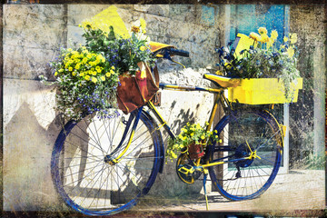vintage bike decorated with flowers, artistic retro picture