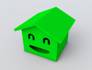 3d smile house model green color