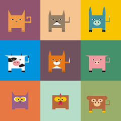 Illustration square animals on a colorful background