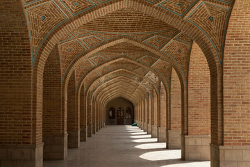 arched corridor in the Kabud mosque in Tabriz, Iran