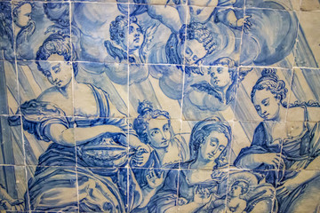 View of the beautiful azulejo details inside the regional museum of Beja city, Portugal.