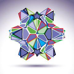 Vivid 3d modern stylish figure constructed from triangles, stars