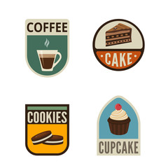 Coffee Candy Shop Vintage Labels vector icon design collection.
