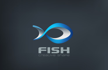 Fish Logo abstract design vector template...Logotype seafood ico