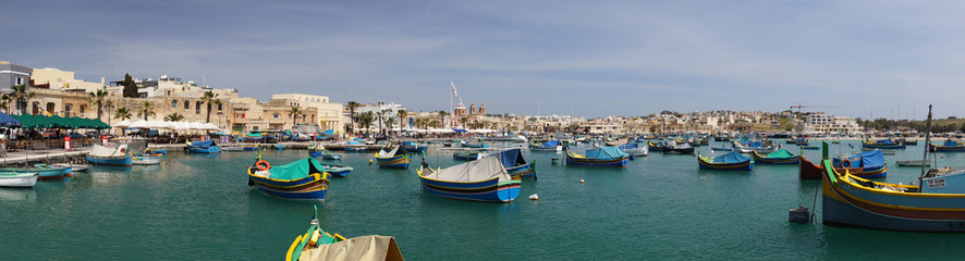 Poster European Famous Place Port de Marsaxlokk et ses Luzzus