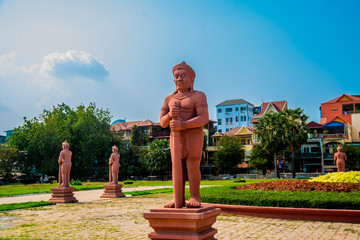 The National Museum of Cambodia (Sala Rachana) and sculpture.Phnom Penh.
