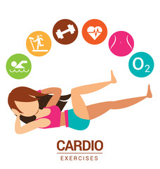 Cardio icon with women exercises