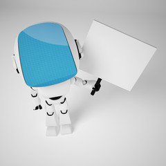 Robot with empty board on white background - 3D render