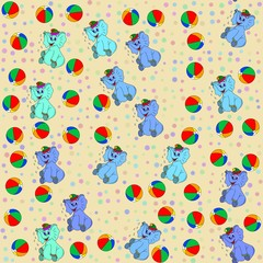Jammies seamless pattern whith jumbo and ball