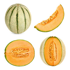 Cantaloupe melon cut in 4 different shapes