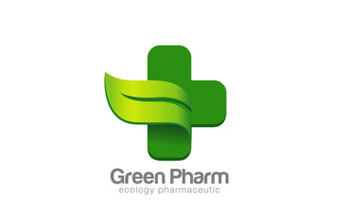 Green Eco Pharmacy Medical Cross Logo design vector template...E