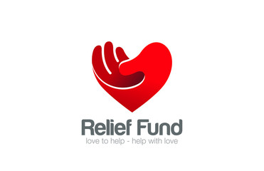 Heart Hand Logo Relief Fund vector design template...Take my Hea