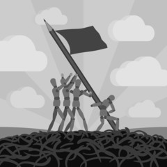 Wooden men establishing the pemcil-flag