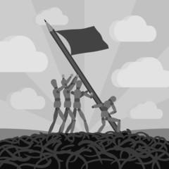 Wooden men establishing the pemcil-flag