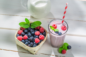 Homemade cocktail with berry fruits