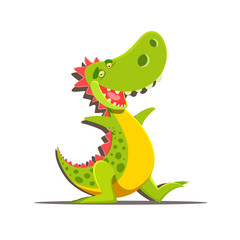 Happy cute cartoon dinosaur isolated on white