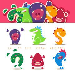 Set of cute vector cartoon monsters in kids style