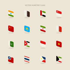 Vector set of isometric flags in simple style of India, Qatar, B