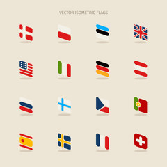 Vector isometric flags with rounded corners in simple style