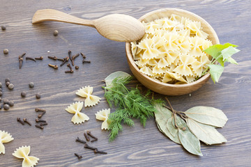 Pasta with herbs and spices
