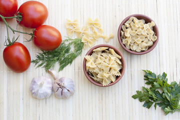 Pasta with fresh vegetables and herbs