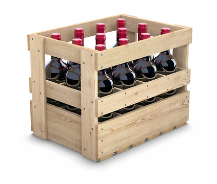 Wine bottles in a wooden crate