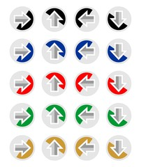 Set of arrows for infographic template in different colors and directions