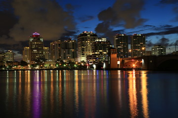 Colorful West Palm Beach skyline at night