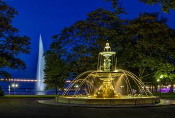 Fountain at the English garden, Geneva, Switzerland, HDR