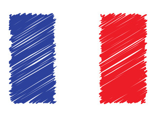 French scribbled flag, vector illustration.