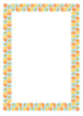 Vector frame with multicolor flowers
