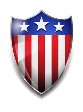 American Shield - Glossy American Flag on Shield