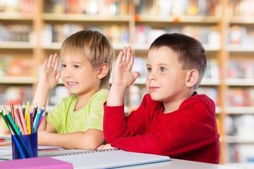 School, children, hands.