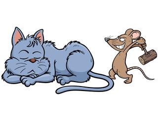 Vector illustration of cartoon Cat and rat