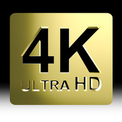 Gold 4K ultra HD sign isolated on black background with clipping path include