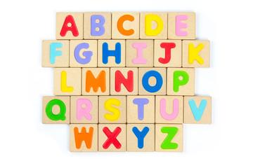 ABC wooden alphabet isolate on white background