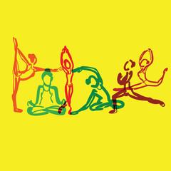 Yoga brush drawing vector overlay