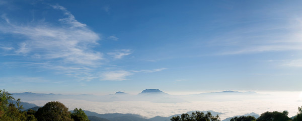 Panoramic sky on a sunny day. Chiang Mai, Thailand.