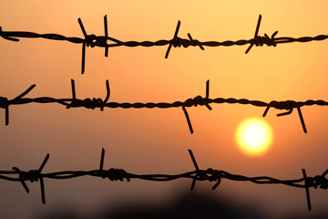 Setting sun behind barbed wire