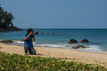 view photographer / Photographer used view at the beach is hobby.
