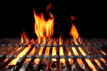 Printed kitchen splashbacks Grill / Barbecue Hot Empty Charcoal BBQ Grill With Bright Flames