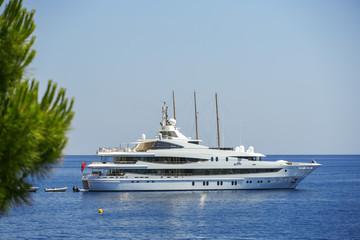 Luxury yacht sailing in Mediterranean Sea near French Riviera, M