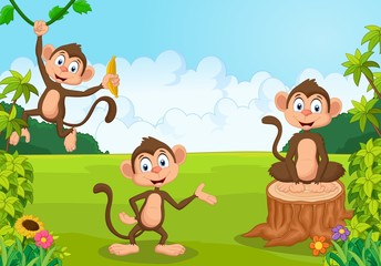 Cartoon illustration monkey playing in the forest