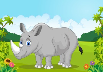 Cartoon happy rhinoceros in the jungle
