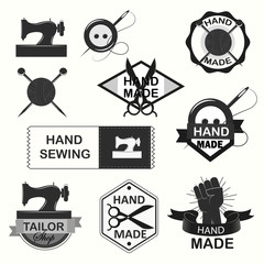 Retro Handmade, hand sewing and tailor shop logotypes set.