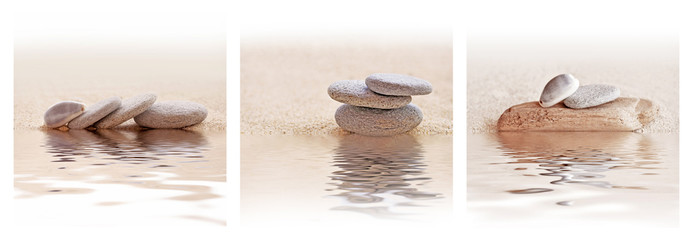 Zen sand and stone triptych with water reflections Wall mural