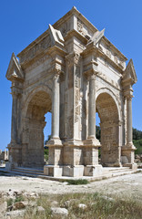 Libya,archaeological site of Leptis Magna,the Settimio Severo arch